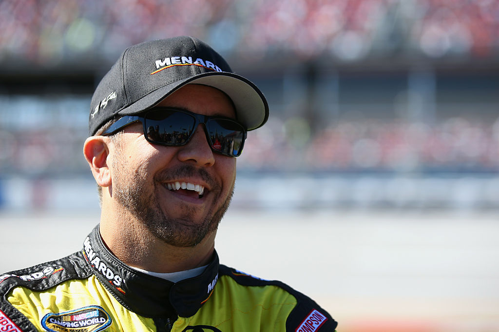 TALLADEGA, AL - OCTOBER 22:  Matt Crafton, driver of the #88 Shasta/Menards Toyota, stands on the grid prior to the NASCAR Camping World Truck Series fred's 250 at Talladega Superspeedway on October 22, 2016 in Talladega, Alabama.  (Photo by Sarah Crabill/Getty Images)