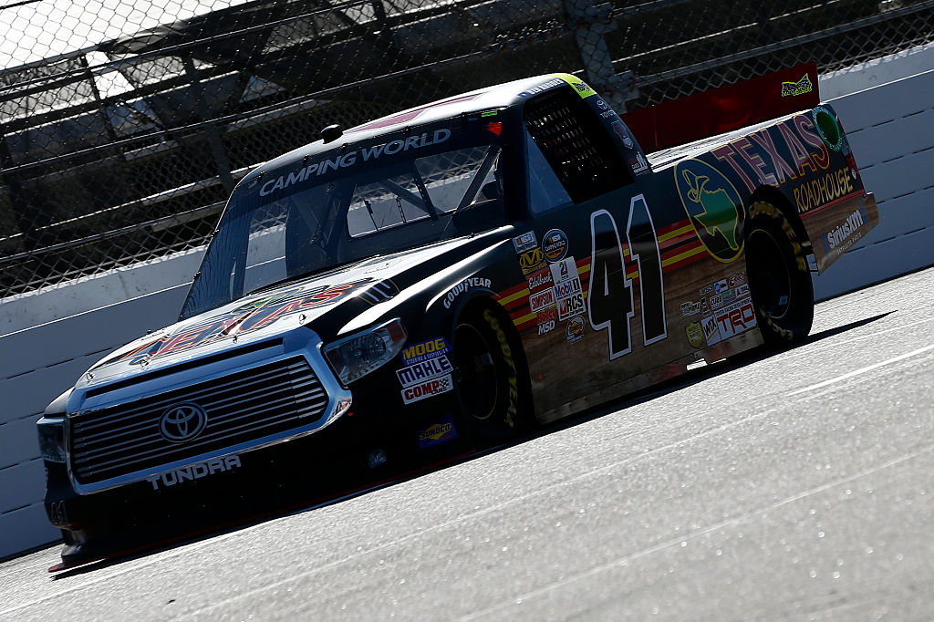 during practice for the NASCAR Camping World Truck Series Texas Roadhouse 200 presented by Alpha Energy Solutions at Martinsville Speedway on October 28, 2016 in Martinsville, Virginia.