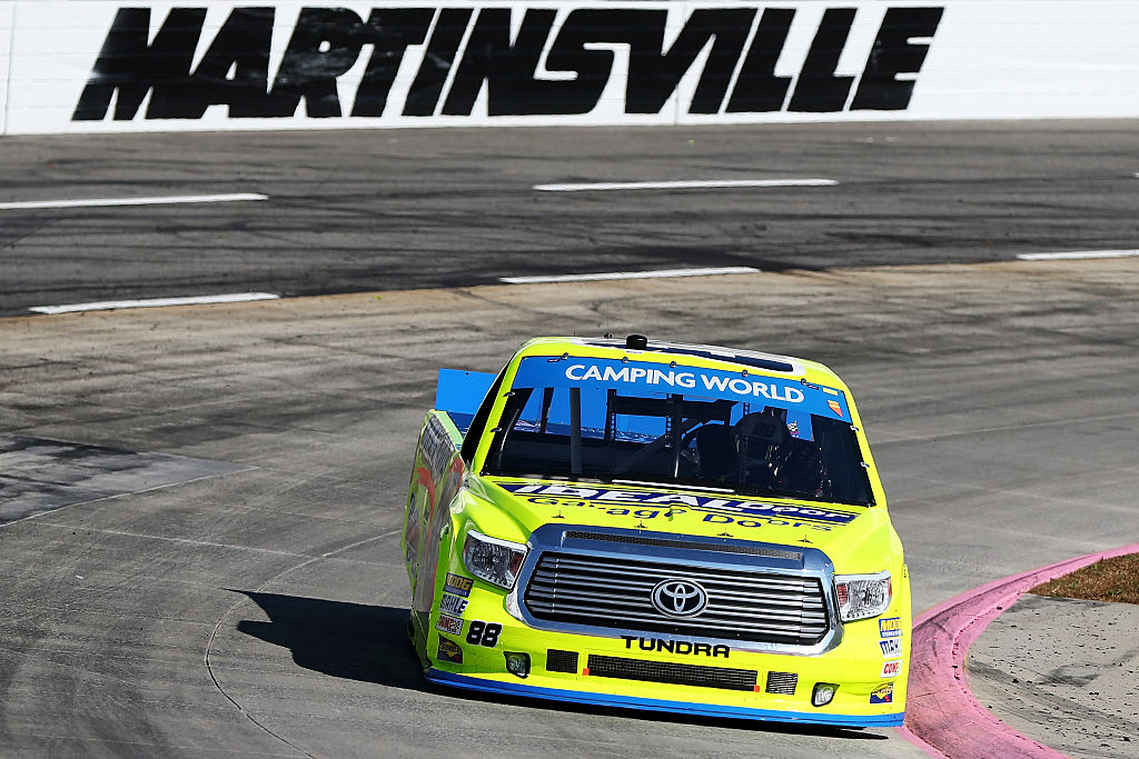 MARTINSVILLE, VA - OCTOBER 29:  Matt Crafton, driver of the #88 Ideal Door/Menards Toyota, races during the NASCAR Camping World Truck Series Texas Roadhouse 200 presented by Alpha Energy Solutions at Martinsville Speedway on October 29, 2016 in Martinsville, Virginia.  (Photo by Matt Sullivan/NASCAR via Getty Images)
