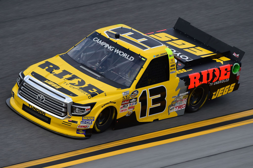 during practice for the NASCAR Camping World Truck Series NextEra Energy Resources 250 at Daytona International Speedway on February 23, 2017 in Daytona Beach, Florida.